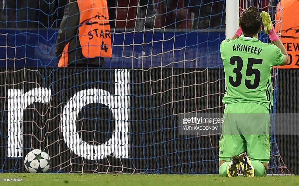 Moscow's goalkeeper Igor Akinfeev concedes a ball during the Champions League football match between CSKA Moscow and Tottenham Hotspur at the CSKA arena in Moscow on September 27, 2016. / AFP / YURI