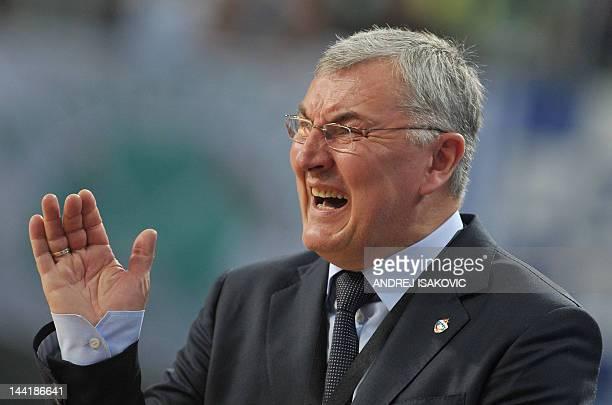 Moscow's head coach Jonas Kazlauskas reacts during the Euroleague Final four basketball semi-final match between CSKA Moscow and Panathinaikos at the...