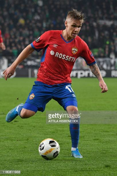 Moscow's Icelandic midfielder Arnor Sigurdsson shoots the ball during the UEFA Europa League group H match Ferencvaros v CSKA Moscow in Budapest on...