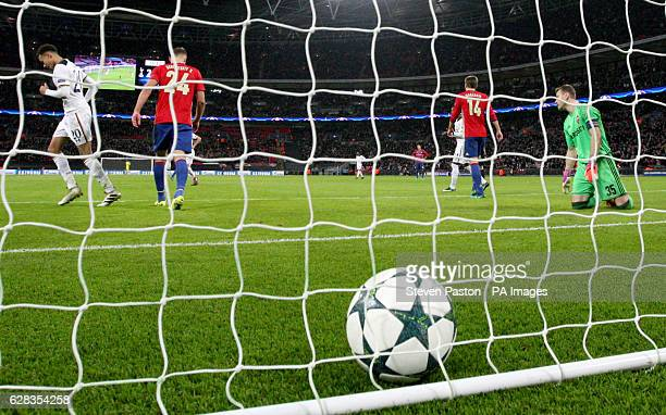 Moscow's Igor Akinfeev appears dejected after scoring an own goal during the UEFA Champions League Group E match at Wembley Stadium London