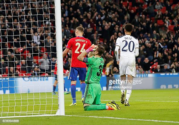 Moscow's Igor Akinfeev reacts after the forth goal of the game at the UEFA Champions League Group E match between Tottenham Hotspur and CSKA Moscow...