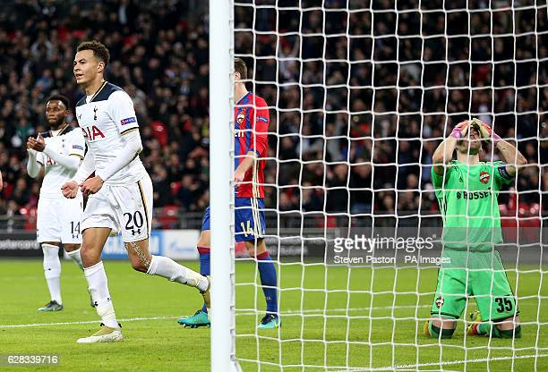 Moscow's Igor Akinfeev scores an own goal after a shot on target by Tottenham Hotspur's Dele Alli during the UEFA Champions League Group E match at...