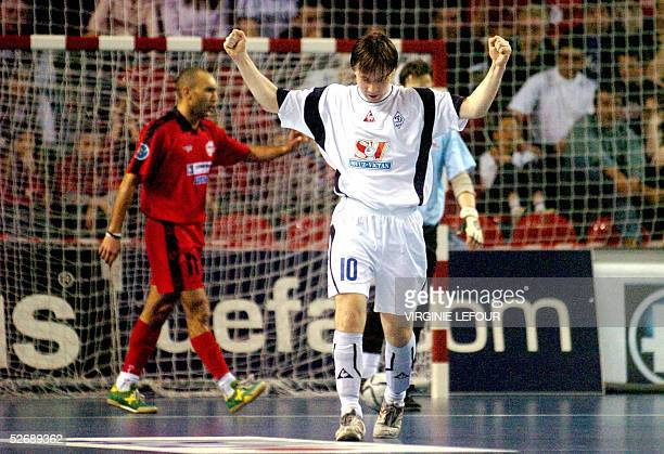 Moscow's Konstantin Maevskiy celebrates after scoring during the away match of the Futsal UEFA Cup final Action 21 Charleroi vs Dinamo Moscow 23...