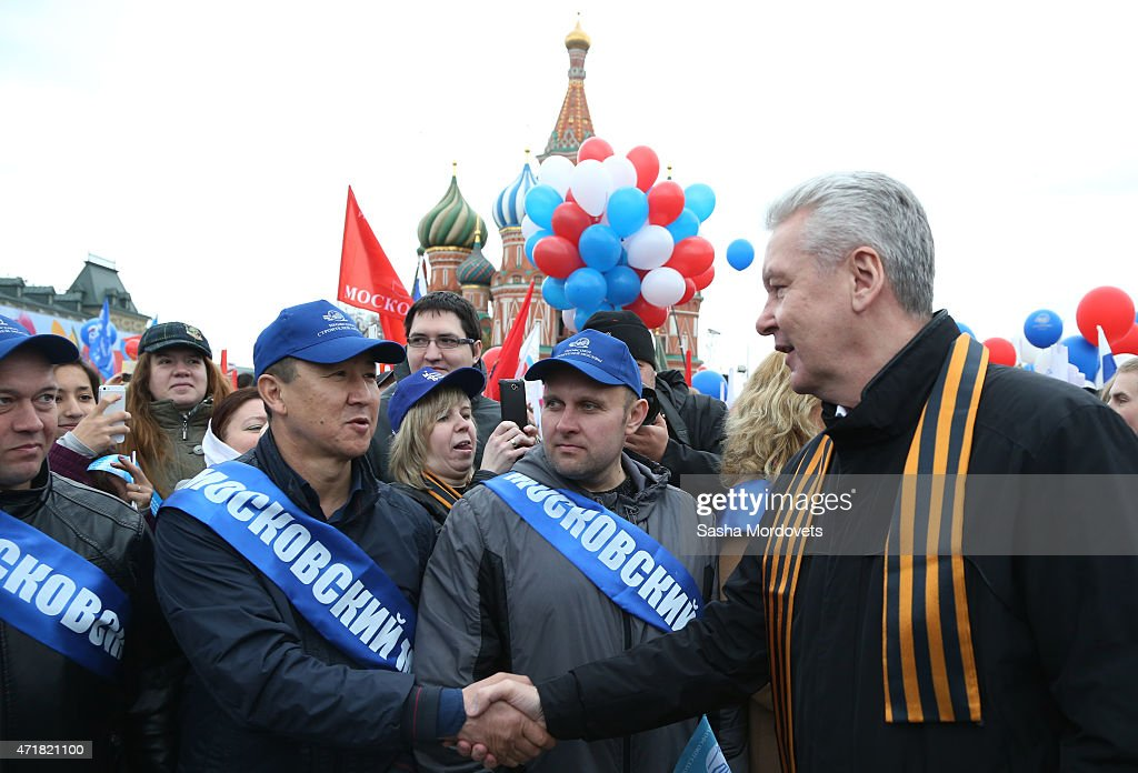 Moscow's Mayor Sergei Sobyainin attends a Soviet style rally of Russian trade unions on May 1, 2015 in Red Square in Moscow, Russia. Some 140,000 workers and students attended the parade on occasion of Labour Day, also known as International Worker's Day or May Day.
