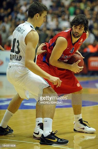 Moscow's Milos Teodosic vies with Partizan's Bogdan Bogdanovic during the Euroleague group D match KK Partizan Belgrade vs CSKA Moscow at Pionir...