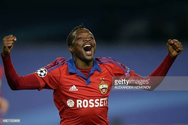 Moscow's Nigerian forward Ahmed Musa celebrates a goal during the UEFA Champions League group B football match between CSKA Moscow and PSV Eindhoven...