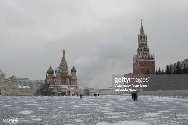 moscow's red square at -32c - argenberg stock-fotos und bilder