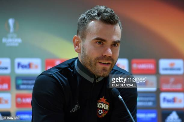 Moscow's Russian captain Igor Akinfeev speaks during a press conference on the eve of their UEFA Europa League first leg quarterfinal football match...