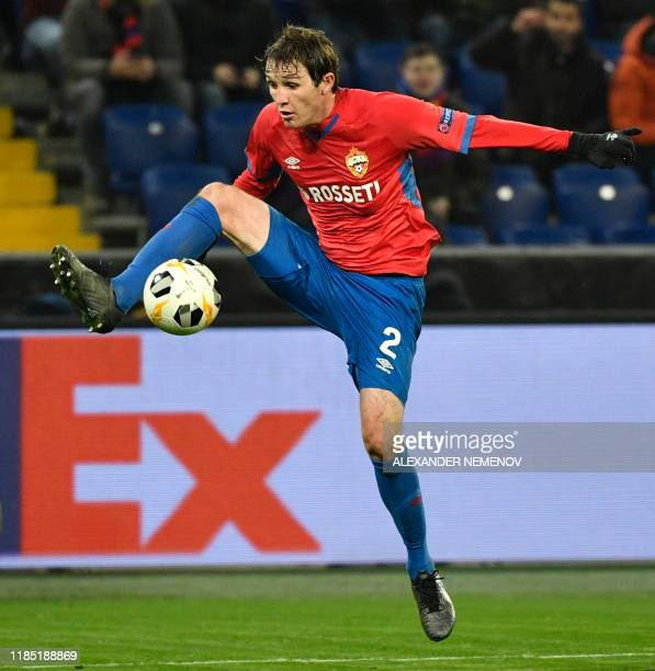 Moscow's Russian defender Mario Fernandes in action during the UEFA Europa League group H football match between CSKA Moscow and Ludogorets in Moscow...