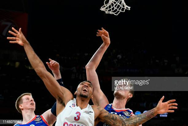 Moscow's Russian forward Joel Bolomboy jumps to score during the EuroLeague final basketball match between Anadolu Efes and CSKA Moscow at the...
