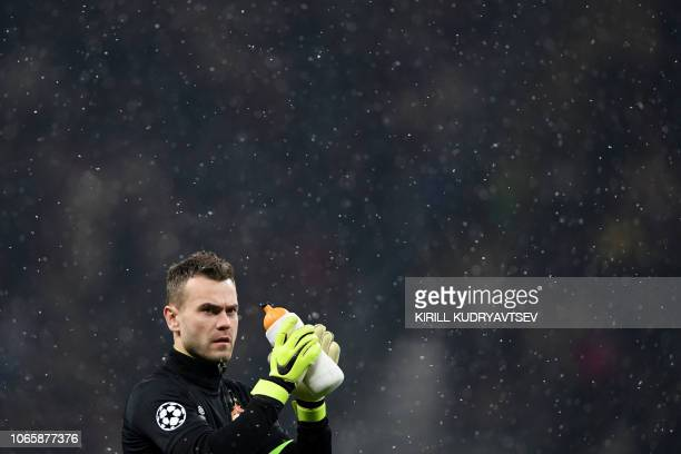 Moscow's Russian goalkeeper Igor Akinfeev at halftime during the UEFA Champions League group G football match between PFC CSKA Moscow and FC Viktoria...