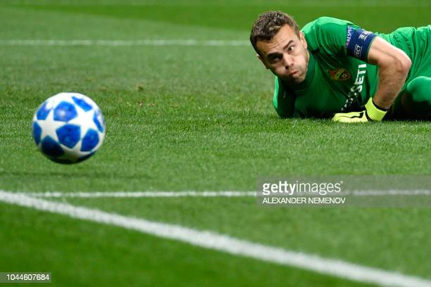 Moscow's Russian goalkeeper Igor Akinfeev eyes the ball during the UEFA Champions League group G football match between PFC CSKA Moscow and Real...
