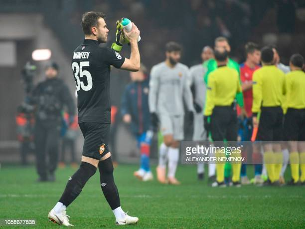 Moscow's Russian goalkeeper Igor Akinfeev walks after the UEFA Champions League group G football match between PFC CSKA Moscow and AS Roma at the...