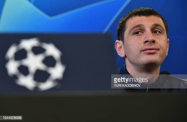 Moscow's Russian midfielder Alan Dzagoev attends a press conference at Moscow's VEB Arena on October 1 2018 on the eve of the UEFA Champions League...