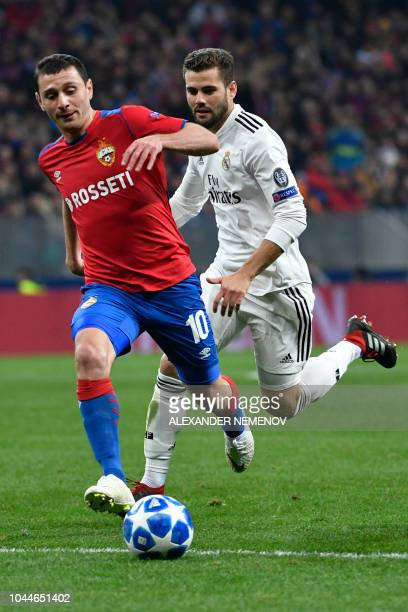 Moscow's Russian midfielder Alan Dzagoev in action during the UEFA Champions League group G football match between PFC CSKA Moscow and Real Madrid CF...
