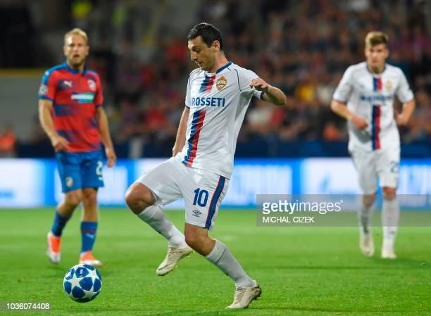 Moscow's Russian midfielder Alan Dzagoev plays the ball during the UEFA Champions League group G football match Viktoria Plzen v CSKA Moscow in Plzen...