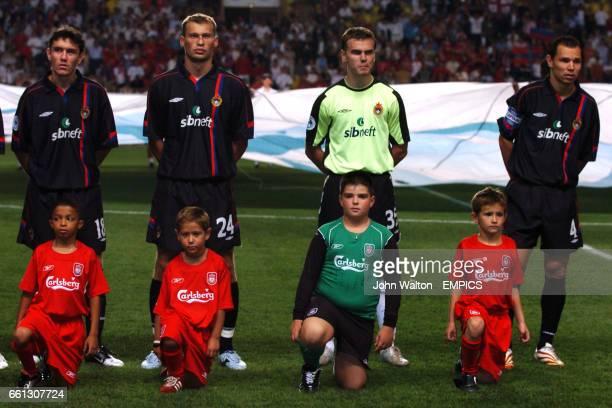 Moscow's Yuri Zhirkov Vassili Berezoutski goalkeeper Igor Akinfeev and Sergei Ignashevich line up prior to the game