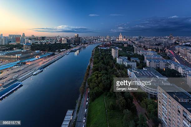 Moscva river and urban skyline of Moscow in the evening