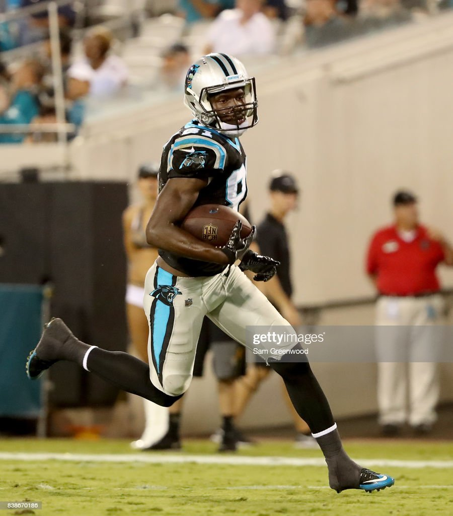 Mose Frazier #81 of the Carolina Panthers rushes for yardage during a preseason game against the Jacksonville Jaguars at EverBank Field on August 24, 2017 in Jacksonville, Florida.