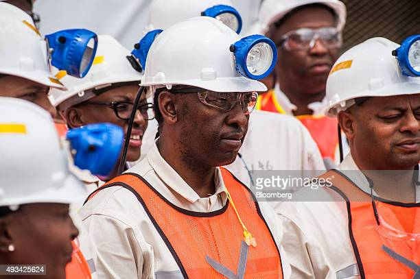 Mosebenzi Zwane South Africa's Mineral Resources Minister center tours Harmony Gold Mining Co's Doornkop mine west of Johannesburg South Africa on...