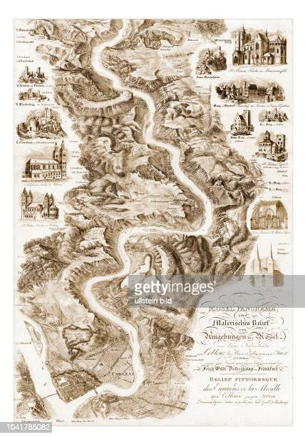 Mosel 1840 Blatt 1 von Coblenz bis Münstermayfeld MoselPanorama oder Malerisches Relief der Umgebungen der Mosel und deren Nebenthäler von Coblenz...