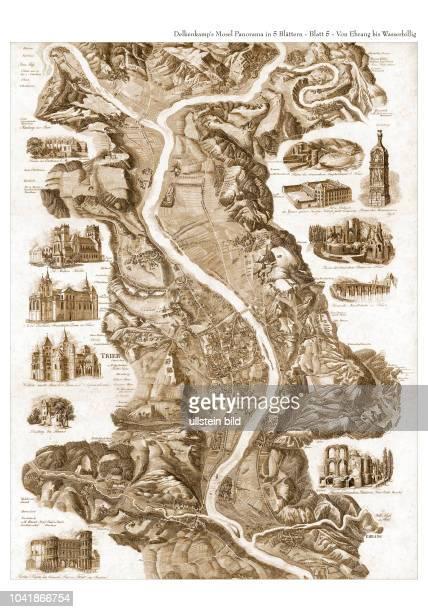 Mosel 1840 Blatt 5 - von Ehrang bis Wasserbillig. Mosel-Panorama oder Malerisches Relief der Umgebungen der Mosel und deren Nebenthäler von Coblenz...