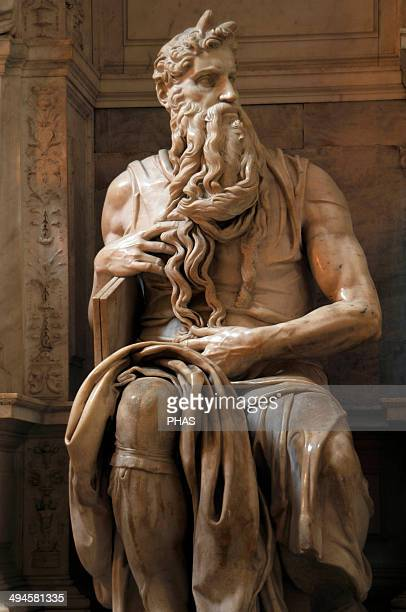 Moses 15131515 Statue by Michelangelo Marble San Pietro in Vincoli Church Rome Italy