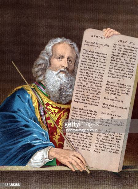 Moses after 40 days absence comes down from the mountain with the Ten Commandments Bible Exodus 34 Chromolithograph c1860