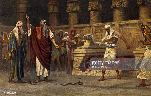 Moses and Aaron meet Pharaoh and Aaron turns his rod into a snake by Robert Leinweber