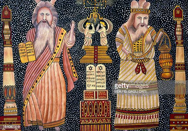 Moses and Abraham illuminated title page from a Bible Hebrew manuscript from Istanbul Turkey 18th century