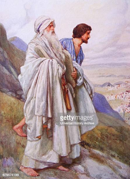 Moses and Joshua descend from Mount Sinai carrying the ten commandments .