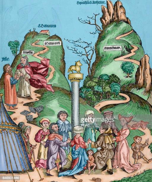 Moses and Joshua descend from Mount Sinai with the tablets of the Law broken and found the Israelites worshiping the golden fleece Engraving in Liber...