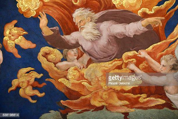 moses and the burning bush. room of heliodorus. vatican museum. - burning bush stock pictures, royalty-free photos & images