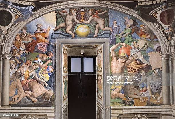 Moses brings out the Water from the Rock and The Falling of the Manna by Bronzino 15431545 16th Century fresco Italy Tuscany Florence Palazzo Vecchio...