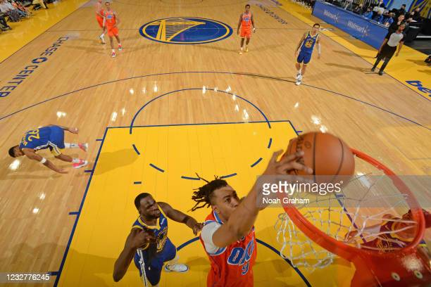 Moses Brown of the Oklahoma City Thunder dunks against the Golden State Warriors on April 8, 2021 at Chase Center in San Francisco, California. NOTE...