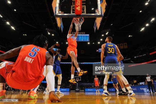 Moses Brown of the Oklahoma City Thunder dunks during the game against the Golden State Warriors on April 8, 2021 at Chase Center in San Francisco,...