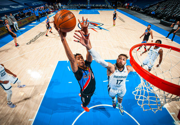 Moses Brown of the Oklahoma City Thunder shoots the ball against the Memphis Grizzlies on March 24, 2021 at Chesapeake Energy Arena in Oklahoma City,...