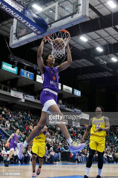 Moses Brown of the Texas Legends dunks the ball in the third quarter against the South Bay Lakers on January 04, 2020 at Comerica Center in Frisco,...