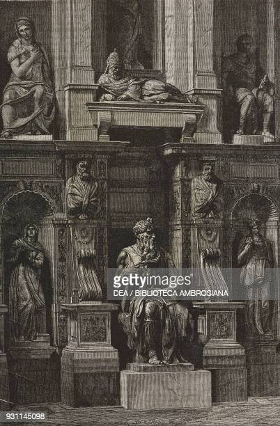 Moses by Michelangelo tomb of Pope Julius II Basilica of St Peter in Chains Rome Italy drawing by J Petot from Rome 18641868 by Francesco Wey from Il...