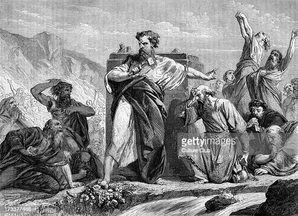 Moses destroying the golden calf when he comes down from Mount Sinai. Deuteronomy, chapter IX.