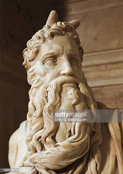 Moses detail from the tomb of Julius II ca 1515 by Michelangelo Basilica of St Peter in Chains in Rome Lazio