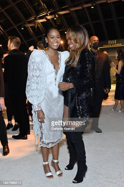 Moses Ingram and Yvonne Orji attend ELLE's 27th Annual Women In Hollywood Celebration, presented by Ralph Lauren and Lexus, at Academy Museum of...