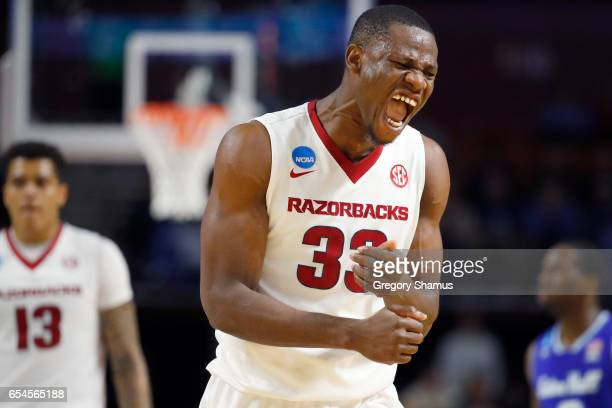 Moses Kingsley of the Arkansas Razorbacks reacts in the second half against the Seton Hall Pirates in the first round of the 2017 NCAA Men's...