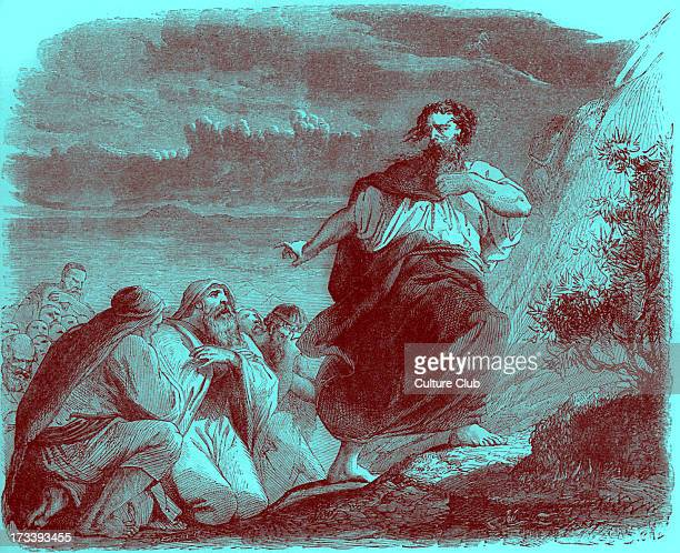 Moses leaves the seventy elders and goes up Mount Sinai for 40 days and nights Exodus chapter XXIV Tinted version