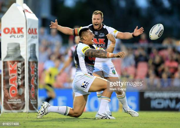 Moses Leota of the Panthers celebrates a try with Trent Merrin during the NRL trial match between the Penrith Panthers and the Sydney Roosters at...