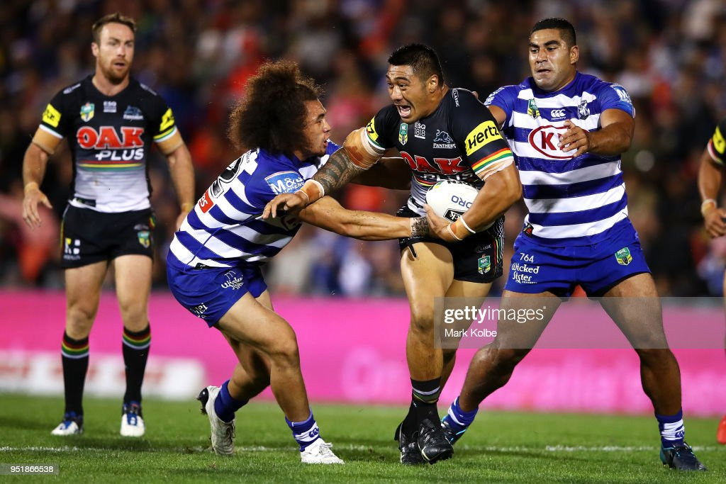 Moses Leota of the Panthers is tackled during the NRL round eight match between the Penrith Panthers and Canterbury Bulldogs on April 27, 2018 in Penrith, Australia.