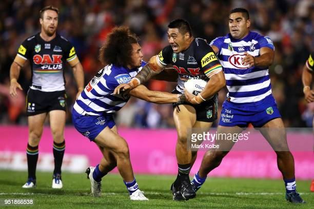 Moses Leota of the Panthers is tackled during the NRL round eight match between the Penrith Panthers and Canterbury Bulldogs on April 27, 2018 in...