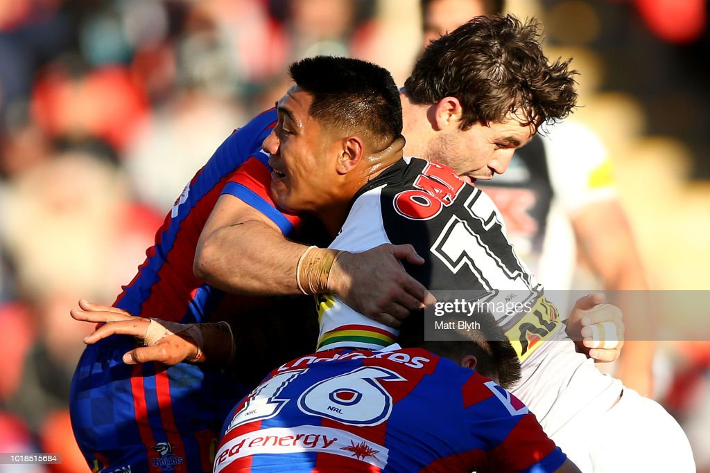 Moses Leota of the Panthers is tackled during the round 23 NRL match between the Penrith Panthers and the Newcastle Knights at Panthers Stadium on August 18, 2018 in Sydney, Australia.