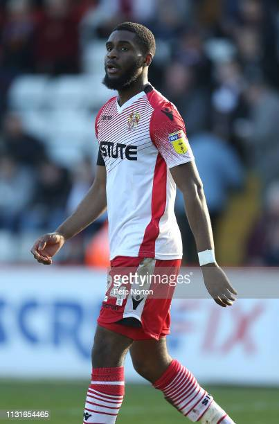 Moses Makasi of Stevenage in action during the Sky Bet League Two match between Stevenage and Northampton Town at The Lamex Stadium on February 23...