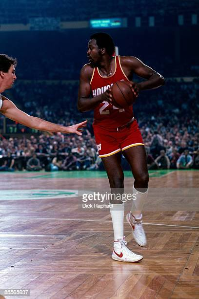 Moses Malone of the Houston Rockets looks to make a move during a game against the Boston Celtics played in 1981 at the Boston Garden in Boston...